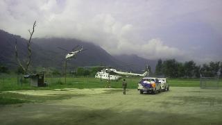 Helicopter landing near mountain in Nepal