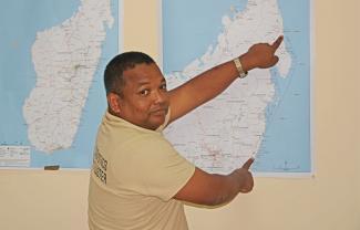 Christian studying Madagascar map